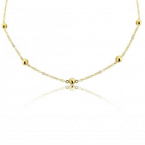 9ct Yellow Gold Chain & Bead Necklace