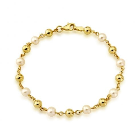 9ct Yellow Gold Cultured Pearl & Gold Bead Bracelet