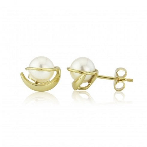 9ct Yellow Gold Cultured Pearl Swirl Detail Stud Earrings