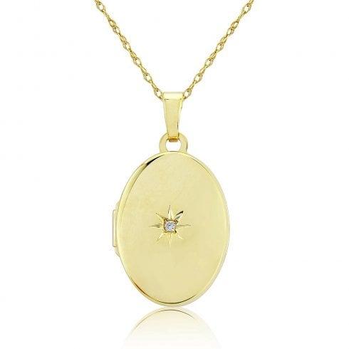 9ct Yellow Gold Diamond Oval Locket Pendant