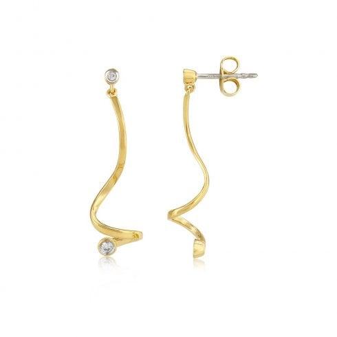 9ct Yellow Gold Diamond Set Drop Earrings