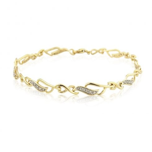 9ct Yellow Gold Diamond Set Open Curve Crossover Link Bracelet