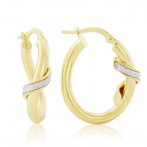 9ct Yellow Gold Glitter Finish Hoop Earrings