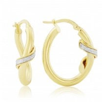 9ct Yellow Gold Glitter Finish Hoop Earrings