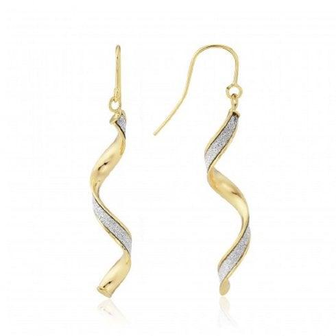 9ct Yellow Gold Glitter Twist Earrings