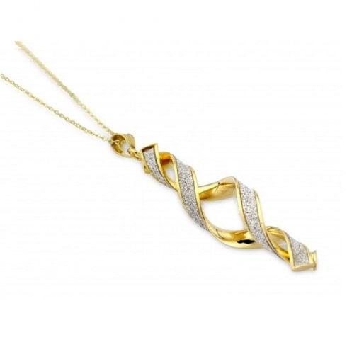 d81137abe0d4c 9ct Yellow Gold Glitter Twist Pendant