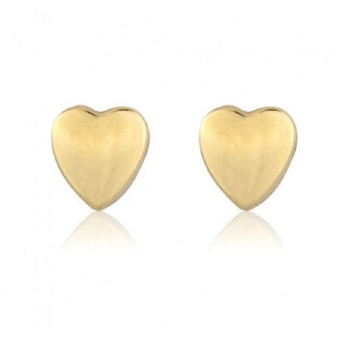9ct Yellow Gold Heart Stud Earrings