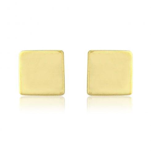 9ct Yellow Gold Medium Cube Stud Earrings