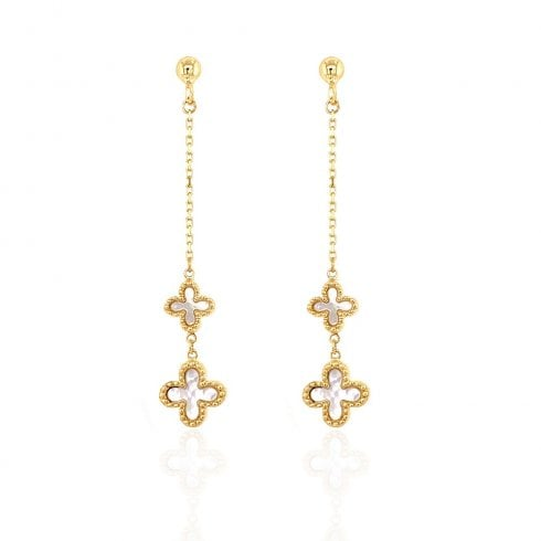 9ct Yellow Gold Mother Of Pearl Drop Earrings