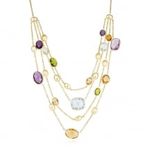 9ct Yellow Gold Multi Stone Necklet