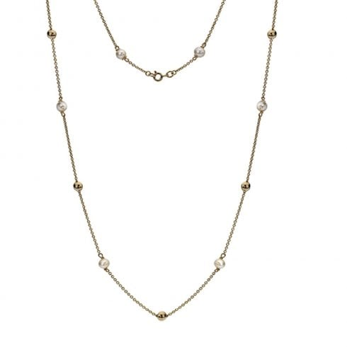 9ct Yellow Gold Pearl & Chain Necklet