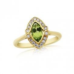 9ct Yellow Gold Peridot & Diamond Ring