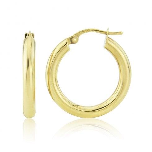9ct Yellow Gold Round Hoop Earrings