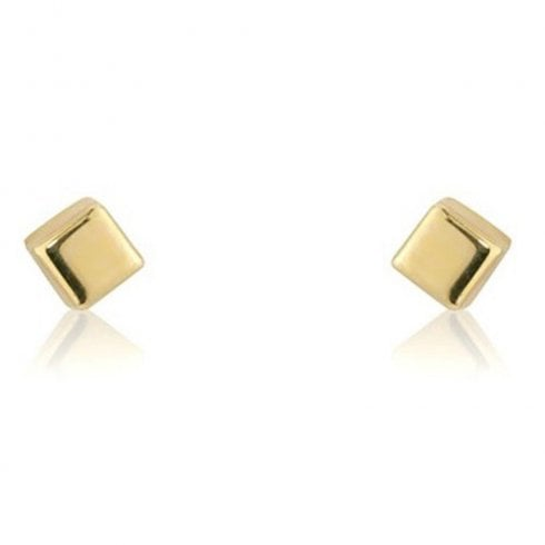 9ct Yellow Gold Small Cube Stud Earrings
