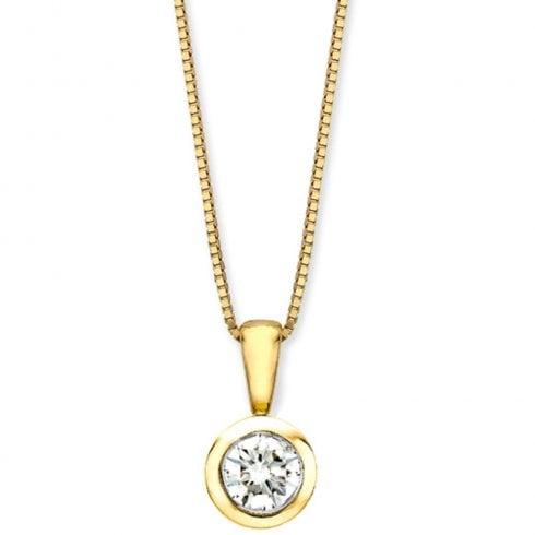 9ct Yellow Gold Solitaire Diamond Pendant