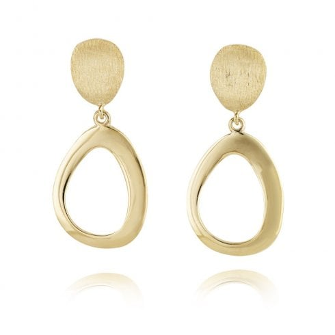 9ct Yellow Gold Textured Drop Earrings