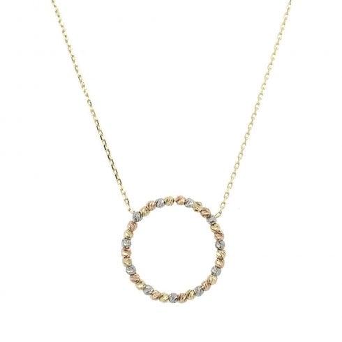 9ct Yellow, Rose & White Gold Circle Pendant