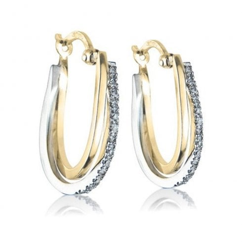 9ct Yellow & White Gold Diamond Hoop Earrings