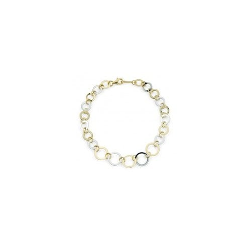 9ct Yellow & White Gold Graduating Open Circle Link Bracelet