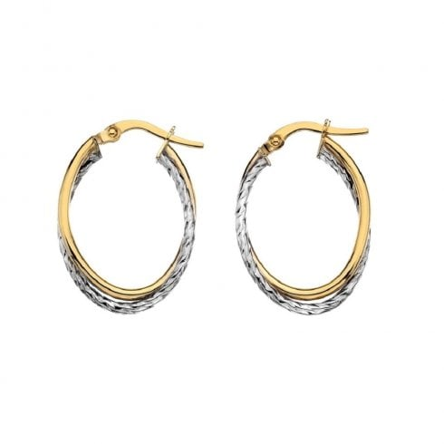 9ct Yellow & White Gold Small Oval Crossover Hoop Earrings