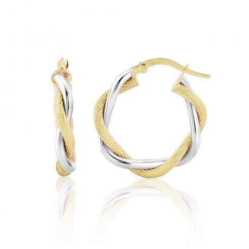 9ct Yellow & White Gold Twist Hoop Earrings