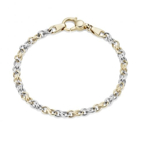 9ct Yellow & White Gold Twist Link Bracelet
