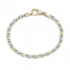 9ct Yellow & White Gold Twist Link Bracelet
