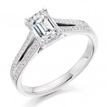 Emerald Cut Diamond Ring with Diamond Set Shoulders