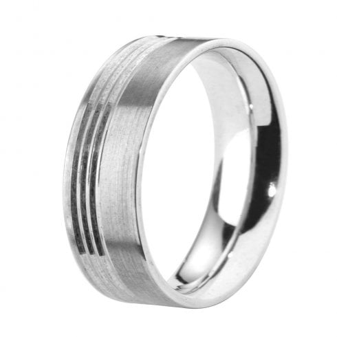 Palladium 6.0mm Flat Court Profile Diamond Cut Wedding Ring