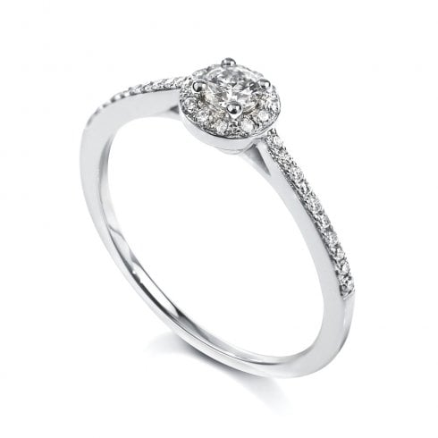 Platinum 0.15ct. H/SI1 Halo Diamond Cluster Ring
