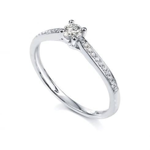 Platinum 0.20ct. H/SI1 Shoulder Set Diamond Ring