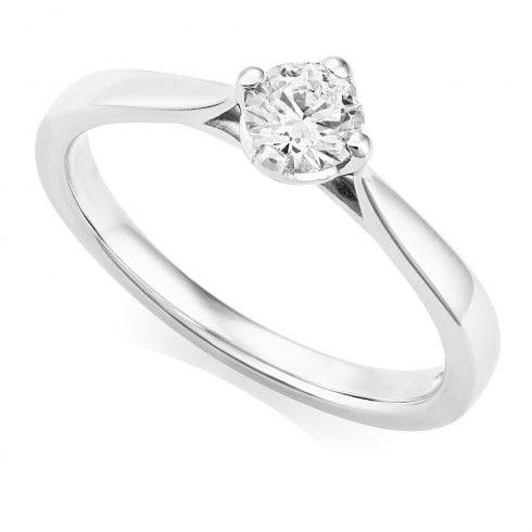 Platinum 0.30ct. F/SI2 GIA Cert Solitaire Diamond Ring