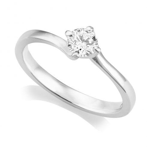 Platinum 0.32ct. G/SI2 IGI Cert Solitaire Diamond Ring