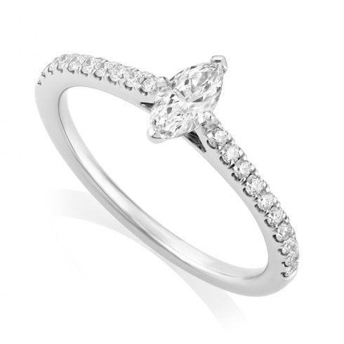 Platinum 0.49ct Marquise Diamond Ring with IGI D/VS2 centre