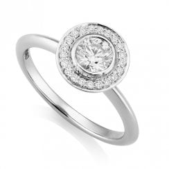Platinum 0.50ct Halo Cluster Ring with IGI E/SI2 Centre