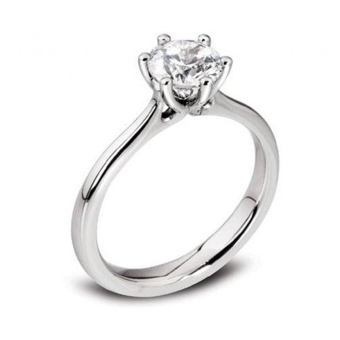 Platinum 0.51ct. F/SI2 GIA Cert Solitaire Diamond Ring