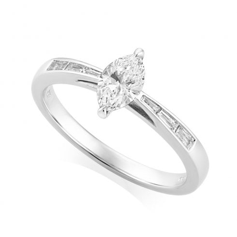 Platinum 0.55ct. H/SI1 Shoulder Set Diamond Ring