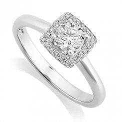 Platinum 0.57ct. Halo Cluster Ring with GIA G/SI1 Centre