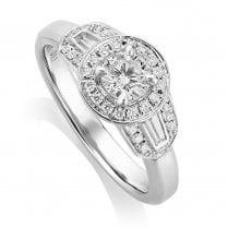 Platinum 0.64ct. Art Deco Style Ring with GIA Cert Centre