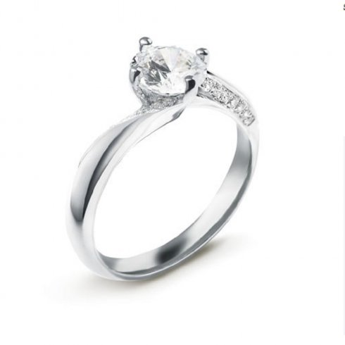 Platinum 0.71ct. F/SI1 GIA Cert Shoulder Twist Diamond Ring