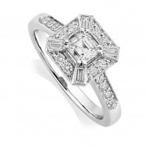 Platinum 0.72ct. Diamond Art Deco Style Ring