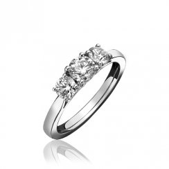 Platinum 0.74ct. H/SI1 Three Stone Diamond Ring