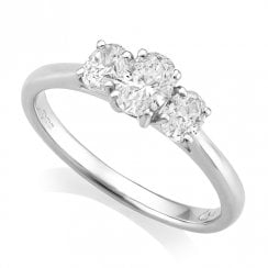 Platinum 0.75ct Three Stone Diamond Ring GIA Centre