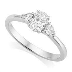 Platinum 0.76ct Three Stone Diamond Ring GIA Centre
