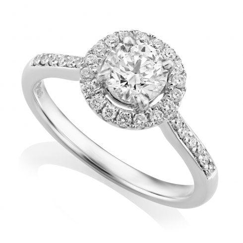 Platinum 0.96ct. F/SI1 GIA Cert Halo Diamond Cluster Ring
