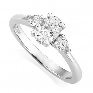 Platinum 0.99ct Three Stone Diamond Ring GIA Centre