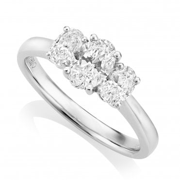 Platinum 1.00ct Three Stone Diamond Ring GIA Centre