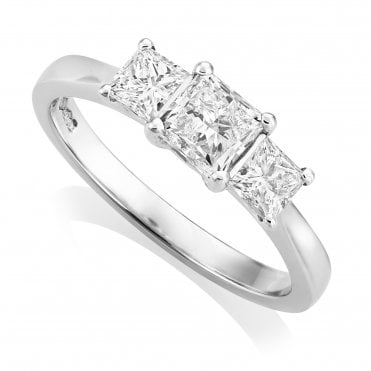 Platinum 1.24ct Three Stone Diamond Ring GIA Centre