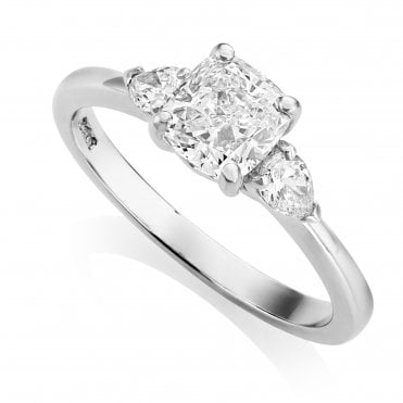 Platinum 1.26ct Three Stone Diamond Ring GIA Centre