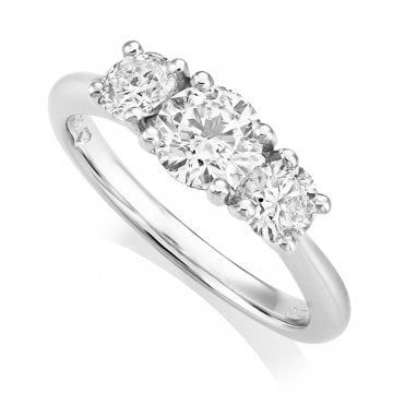 Platinum 1.30ct Three Stone Diamond Ring IGI Centre